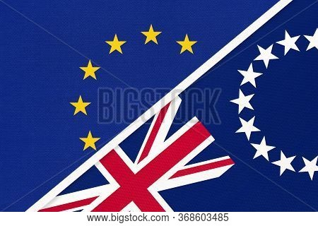 European Union Or Eu And Cook Islands National Flag From Textile. Symbol Of The Council Of Europe As