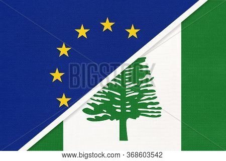 European Union Or Eu And Norfolk Island National Flag From Textile. Symbol Of The Council Of Europe
