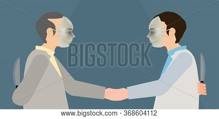 Two Business Man In Mask To Shaking Hands And Holds Knife In His Hand, Faking Business Partnership,