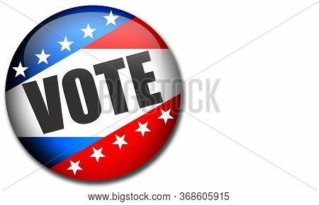 Election Pin Button For United States Elections, 3d Rendering