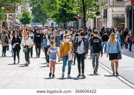 People Wearing Face Masks On The First Weekend Of The Unlockdown In Lyon France