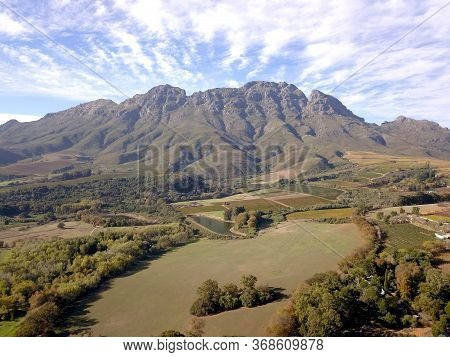 Aerial View Of Stellenbosch Mountains, Cape Town, South Africa