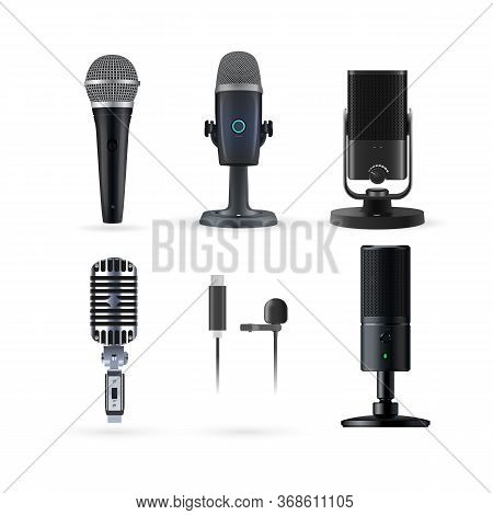 Microphone Isolated. Realistic Radio And Music Microphone Set. Modern Karaoke Microphone And Radio M