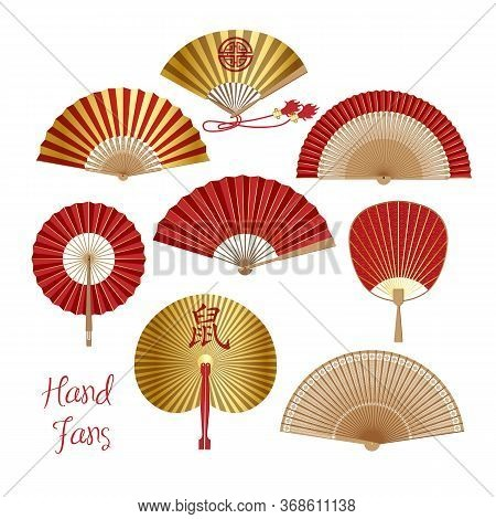 Hand Fan. Chinese And Japanese Paper Folding Fan . Traditional Oriental Red And Gold Hand Fan Collec