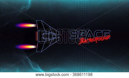 Arcade Space Ship Flying Over The The Blue Corridor Or Canyon Landscape With 3d Mountains, 80s Style