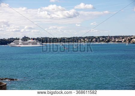 St Malo, France - September 14, 2018: View From The Ramparts At Ferry And The Town Of Dinard. Saint