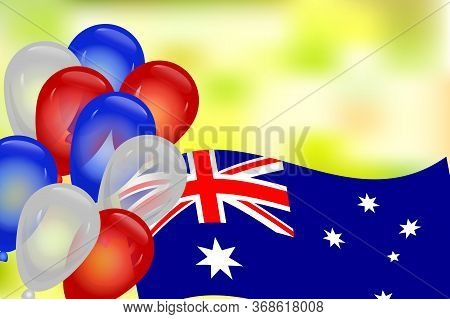 Greeting Card With Australia Flag,  National Colors Balloons And Copy Space. Australia Independence