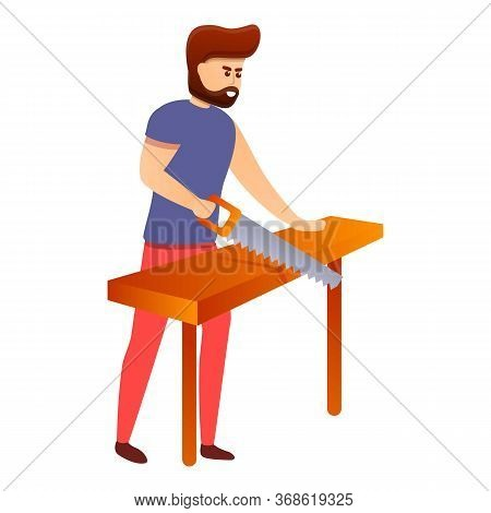 Modern Carpenter Icon. Cartoon Of Modern Carpenter Vector Icon For Web Design Isolated On White Back