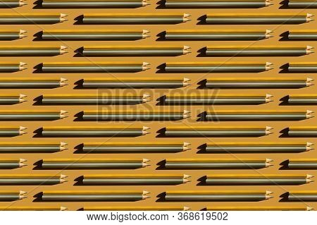 Pattern Of Trendy Gold And Silver Pencils On Gold Background. Back To School, Education And Learning