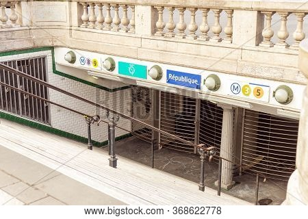 Paris, France 2019. Closed Entrance To The Republic Metro Station Because Of The Strike.paris City T