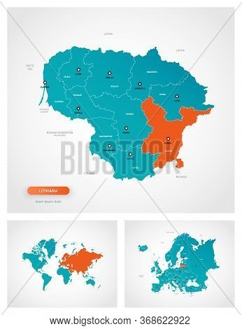 Editable Template Of Map Of Lithuania With Marks. Lithuania On World Map And On Europe Map.