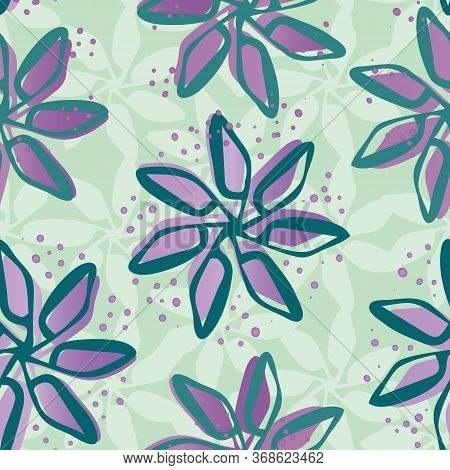 Sparkly Hand Drawn Flowers Seamless Vector Pattern Background. Painterly Blooms With Offset Color On