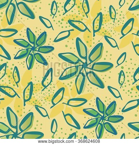 Scattered Flowers And Leaves Seamless Vector Pattern Background. Painterly Blooms Foliage With Offse