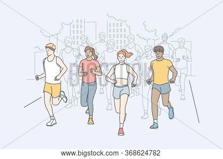 Sport, Jogging, Marathon, Activity Concept. Group Of Multiracial People Men And Women Athletes Runni