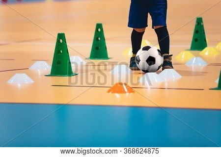 Indoor Soccer Players Training With Balls. Indoor Soccer Sports Hall. Futsal League. Indoor Football