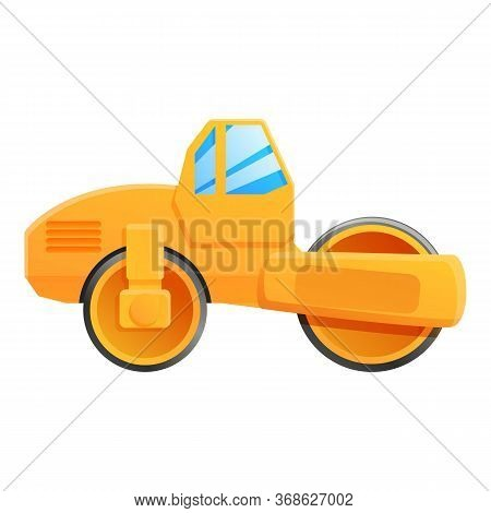 Work Road Roller Icon. Cartoon Of Work Road Roller Vector Icon For Web Design Isolated On White Back