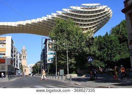 Seville, Spain - July 14, 2011: Seville Metropol Parasol (sevilla Mushrooms) (las Setas De Sevilla),