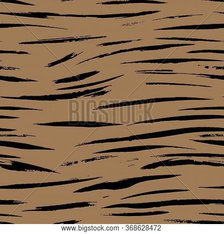 Safari Pattern, Tiger Skin Fur Print Brown Seamless Background, African Wild Animal Camouflage. Beng