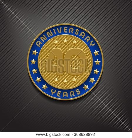 40 Years Anniversary Vector Logo, Icon. Graphic Symbol With Golden Medal