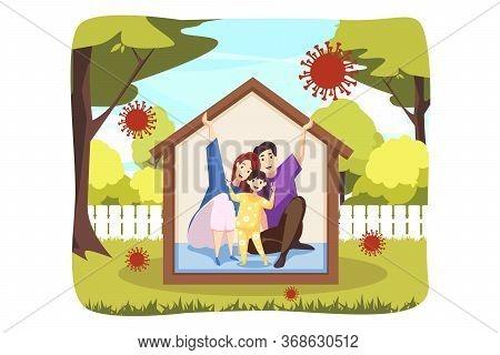 Protection, Quarantine, Healthcare, Danger, Coronavirus Concept. Stay Home Illustration. Family Fath