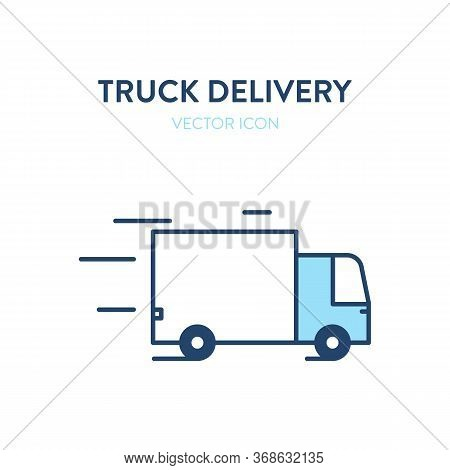 Delivery Truck Icon. Vector Illustration Of A Moving Freight Car. Loaded Truck Icon. Represents A Co
