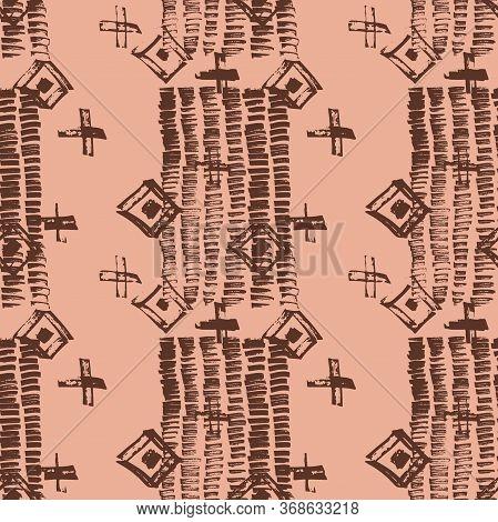 Tie Dye Japanese Geometric Winter Seamless Pattern. Boho Tie Dye Native Batik. Scribble Cartoon Dood