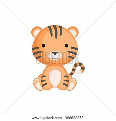 Cute Little Tiger Sitting. Adorable Cartoon Animal Character For Decoration And Design Of Album, Scr