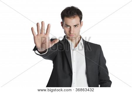 Young Professional Stop Gesture With Hand