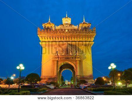Patuxai Monument, Vientiane, Laos.