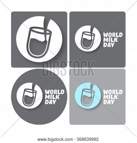 Vector World Milk Day Outline Style Icons Set Or Label Isolated On Grey Background. Milk Day Greetin