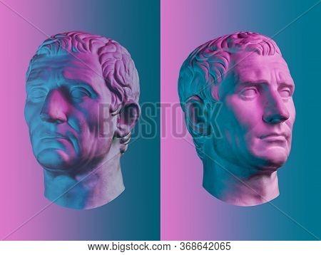 Statue Of Guy Julius Caesar Octavian Augustus. Creative Concept Colorful Neon Image With Ancient Rom