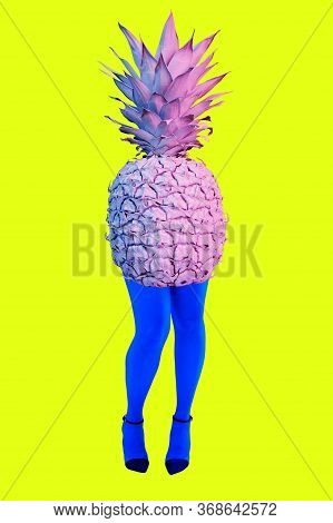 Picture Of Pineapple Instead Of Body And Womans Beautiful Blue Legs In High Heels Shoes On Acid Yell