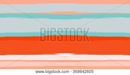 Orange, Brown Lines Seamless Summer Pattern, Vector Watercolor Sailor Stripes. Horizontal Brushstrok