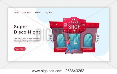 Super Disco Night Landing Page Flat Color Vector Template. Barbershop Homepage Layout. Hairdresser O