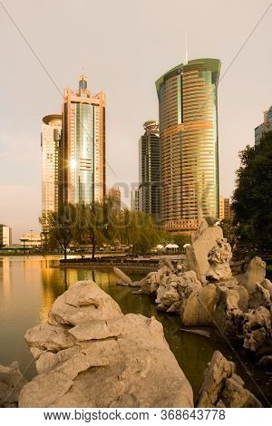 Pudong, Shanghai, China, Asia - November 26, 2008: Skyline Of Office Buildings At Lujiazui Financial