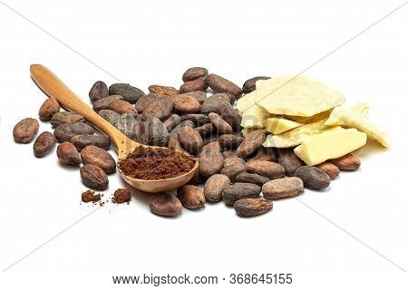 Raw Cocoa Beans, Cocoa Butter And Spoon With Cocoa Powder. Chocolate Ingredients Isolated On White B