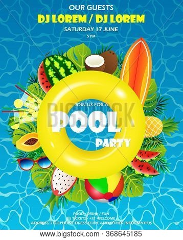 Pool Summer Party Invitation Banner. Water And Palm Inflatable Yellow Mattress, Summer Paraphernalia