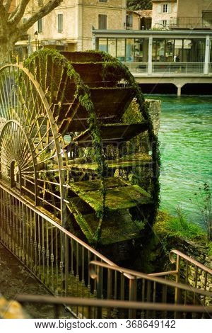 Vertical Picture Of Wheel Of Water Mill In One Of The Most Beautiful Villages Of France Fontaine De