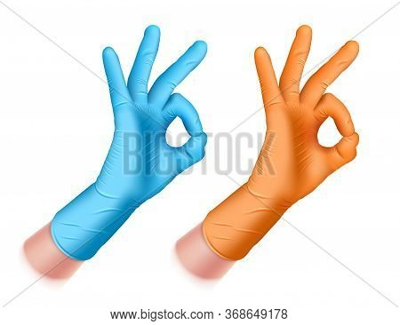 Man S Hand In A Rubber Glove Of Blue, Orange Color. Hand Makes Ok Sign. Okay Realistic 3d Illustrati