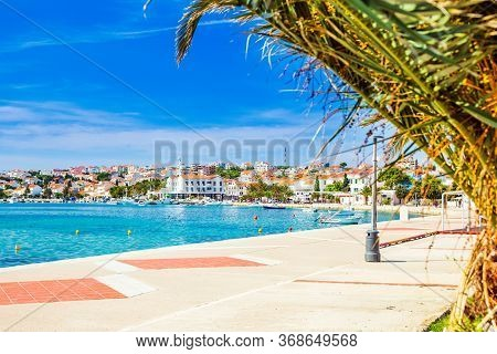 Croatia, Waterfront In Town Of Novalja On The Island Of Pag
