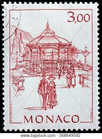 Luga, Russia - April 10, 2020: A Stamp Printed By Monaco Shows View Of The Musical Pavilion In Monte