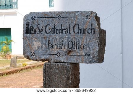 OLD GOA, INDIA - FEBRUARY 18, 2020: Se Cathedral is a cathedral dedicated to Catherine of Alexandria, Old Goa, Goa, India