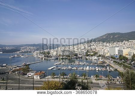 Kavala, Greece - October 22, 2017; Aerial View Of Kavala Port In Greece