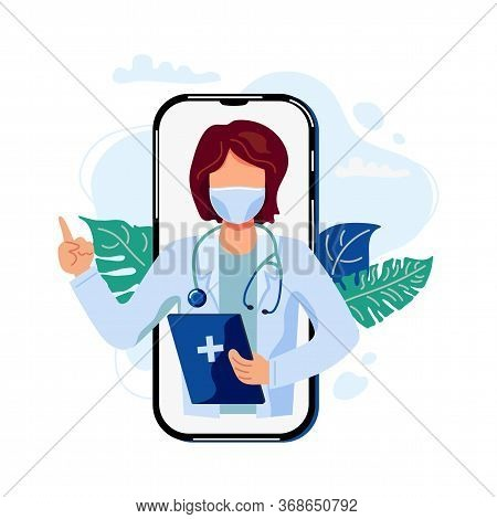 Tele Medicine, Online Doctor And Medical Consultation Concept. Female Doctor Helps A Patient On A Mo