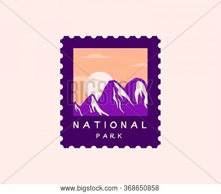 National Park Postage Stamp. Wilderness, Wanderlust And Nature Badgee With Mountain Silhouettes And