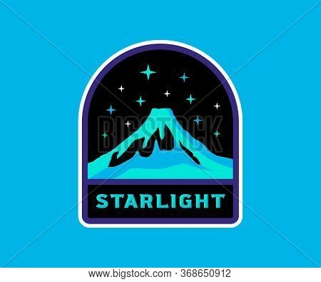 Volcano With Stars, Vintage Retro Badge. Starlight Label, Space Stars, Stellar Background.