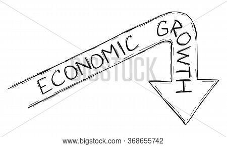 Vector Sketchy Cartoon Drawing Conceptual Illustration Of Graph Arrow Representing Global Economic G