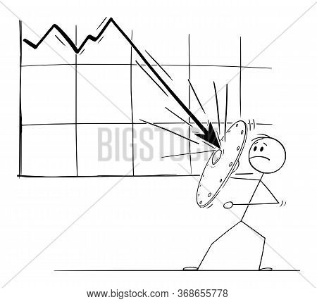 Vector Cartoon Stick Figure Drawing Conceptual Illustration Of Man Or Businessman Using Shield To Re