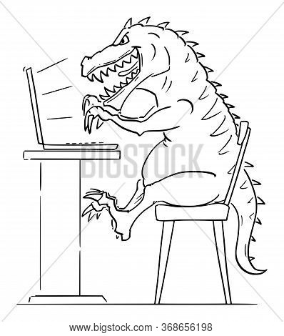 Vector Cartoon Stick Figure Drawing Conceptual Illustration Of T-rex, Tyrannosaurus Rex, Monster Or