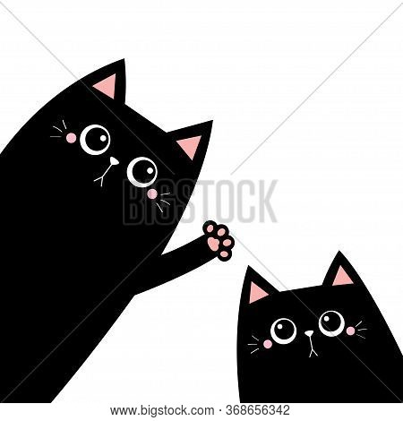 Black Cat Silhouette Set. Waving Hand. Pink Paw Print. Cute Cartoon Kawaii Funny Sad Face Character.